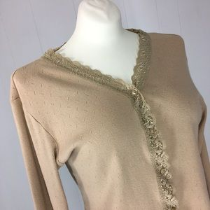 Camel Brown Lace Cropped Sweater sz S White Stag